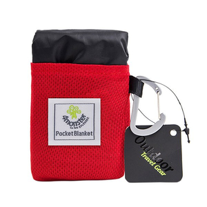 Packable polyester pocket blanket for outdoor picnic oem factory